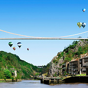 Clifton suspension Bridge over the Avon Gorge Bristol with two glasses as the bridges towers Ray Massey is an established, award winning, UK professional  photographer, shooting creative advertising and editorial images from his stunning studio in a converted church in Camden Town, London NW1. Ray Massey specialises in drinks and liquids, still life and hands, product, gymnastics, special effects (sfx) and location photography. He is particularly known for dynamic high speed action shots of pours, bubbles, splashes and explosions in beers, champagnes, sodas, cocktails and beverages of all descriptions, as well as perfumes, paint, ink, water – even ice! Ray Massey works throughout the world with advertising agencies, designers, design groups, PR companies and directly with clients. He regularly manages the entire creative process, including post-production composition, manipulation and retouching, working with his team of retouchers to produce final images ready for publication.