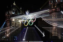 Olympic Games London 2012, .Tower Bridge of London with olympic rings.© pixathlon