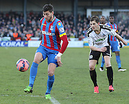 Crystal Palace Joel Ward on there ball during the The FA Cup Third Round match between Dover Athletic and Crystal Palace at Crabble Athletic Ground, Dover, United Kingdom on 4 January 2015. Photo by Phil Duncan.