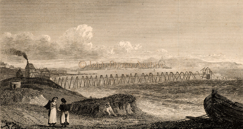 Wherry Mine, Mount's Bay, Penzance, Cornwall, England.  Wooden trestle bridge carrying the horizontal rods from the steam engine, left, to pump in the coffer dam at the end of the trestle which protected the shaft of the mine which was only uncovered at low water. Opened in 1781 to exploit a vein of quartz-feldspar porphyry, the mine was destroyed in 1798 when a ship in a storm destroyed the trestles and the coffer. Engraving from 'Transactions' of the Royal Geological Society of Cornwall, 1818.