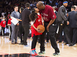 File photo dated february 14, 2016 of Los Angeles Lakers' Kobe Bryant (24) kisses his daughter Gianna on the court in warm-ups before first half NBA All-Star Game basketball action in Toronto, ON, Canada. Kobe Bryant, the 18-time NBA All-Star who won five championships and became one of the greatest basketball players of his generation during a 20-year career with the Los Angeles Lakers, died in a helicopter crash Sunday. Bryant's 13-year-old daughter Gianna also was killed. Photo by Mark Blinch/CP/ABACAPRESS.COM