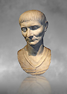 Roman portrait bust of a young man from 110 AD. In this portrait, the hairstyle and facial features are typical of the Trajan era of portraiture. The hairstyle is characterised by a slight central parting on the forehead . Inv 287, The National Roman Museum, Rome, Italy .<br /> <br /> If you prefer to buy from our ALAMY PHOTO LIBRARY  Collection visit : https://www.alamy.com/portfolio/paul-williams-funkystock/roman-museum-rome-sculpture.html<br /> <br /> Visit our ROMAN ART & HISTORIC SITES PHOTO COLLECTIONS for more photos to download or buy as wall art prints https://funkystock.photoshelter.com/gallery-collection/The-Romans-Art-Artefacts-Antiquities-Historic-Sites-Pictures-Images/C0000r2uLJJo9_s0