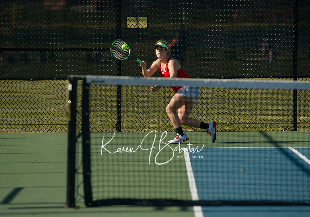 St Paul's School varsity girls tennis with New Hampton.  ©2018 Karen Bobotas Photographer