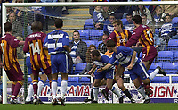 © Peter Spurrier/Sportsbeat Images <br />04/10/2003 - Photo  Peter Spurrier<br />2003/04 Nationwide Football Div 1 Reading Town FC v Bradford City FC.<br />Reading Andy hughes slot's the ball into the corner for Reading equaliser.