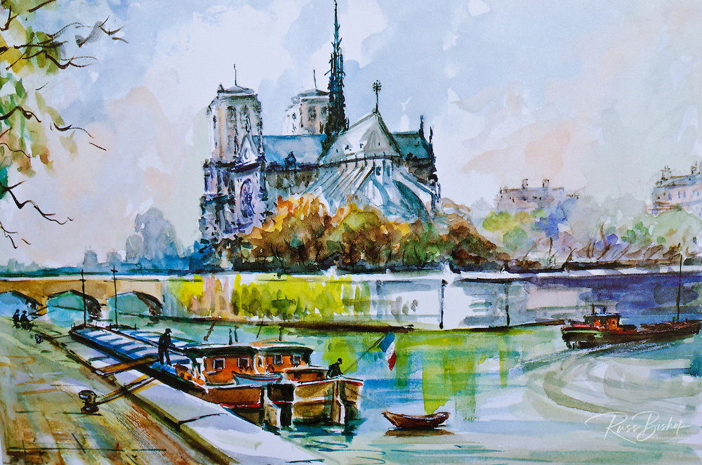 Painting of Notre Dame Cathedral, Paris, France