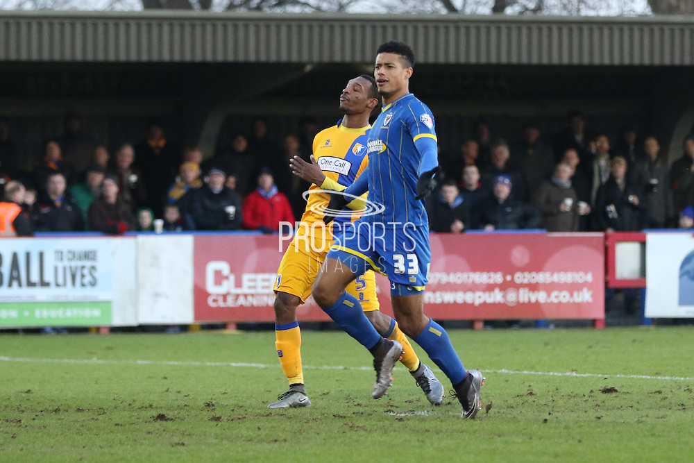 Lyle Taylor of AFC Wimbledon equalises during the Sky Bet League 2 match between AFC Wimbledon and Mansfield Town at the Cherry Red Records Stadium, Kingston, England on 16 January 2016. Photo by Stuart Butcher.