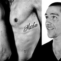 Nederland, Amsterdam, 18-04-2013.<br /> De tweeling Tycho en Vincent Muda , roeiers, met hun tattoo.<br /> Foto : Klaas Jan van der Weij