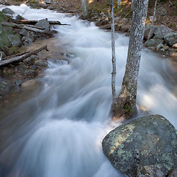 Jordan Stream after heavy rains in spring. Acadia National Park in Maine.
