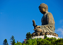 Big Buddha bronze statue at Po Lin Monastery on Lantau Island in Hong Kong