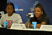 March 17, 2016: New Mexico State Aggies guard Moriah Mack (35) addresses the media during the first practice day of the 2016 NCAA Division I Women's Basketball Championship first round in Tempe, Ariz.