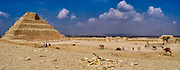 The great court on the South side of the Step Pyramid, the tomb of the third Dynasty ruler Djoser, built by Imhotep