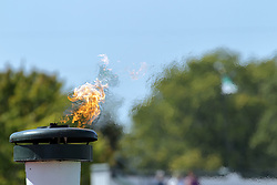 09 September 2017:  Victory torch during an NCAA division 3 football game between the Nebraska Wesleyan PRAIRIE WOLVES and the Illinois Wesleyan Titans in Tucci Stadium on Wilder Field, Bloomington IL