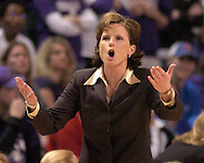 Kansas head coach Bonnie Henrickson argues a call in the second half.  Kansas lost to Kansas State for the ninth straight time in the Sunflower Showdown 69-63 at Bramlage Coliseum in Manhattan, Kansas, January 25, 2006.