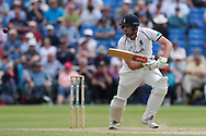 Dominic Sibley of Warwickshire plays the ball to reach 50 during the Specsavers County Champ Div 1 match between Yorkshire County Cricket Club and Warwickshire County Cricket Club at York Cricket Club, York, United Kingdom on 18 June 2019.