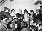 Taoiseach Meets With Guildford Four.   T9..1989..03.11.1989..11.03.1989..3rd November 1989..An Taoiseach, Charles Haughey TD,met  with Paul Hill and Gerard Conlon,two of the Guildford Four. The Guildford Four had been wrongly convicted of a pub bombing and were subsequently released on appeal after 14 years. They had not been compensated for their time in prison and were meeting with the Taoiseach to highlight the injustices they had suffered...Image shows the media getting up close and personal as An Taoiseach, Charles Haughey TD, makes a statement.