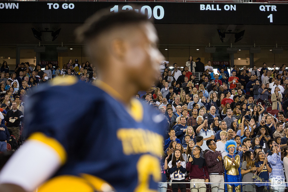 Milpitas fans cheer for their team against Valley Christian High School during Friday Night Lights at Levi's Stadium in Santa Clara, California, on September 18, 2015.  Milpitas went on to lose 22-21 against Valley Christian.  (Stan Olszewski/SOSKIphoto)