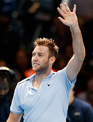Jack Sock celebrates defeating Marin Cilic during day three of the NITTO ATP World Tour Finals at the O2 Arena, London.