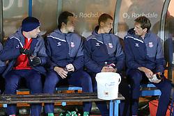 The Stoke City bench before kick off - Photo mandatory by-line: Matt McNulty/JMP - Mobile: 07966 386802 - 26/01/2015 - SPORT - Football - Rochdale - Spotland Stadium - Rochdale v Stoke City - FA Cup Fourth Round