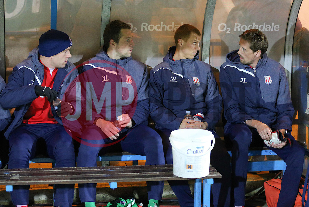 The Stoke City bench before kick off - Photo mandatory by-line: Matt McNulty/JMP - Mobile: 07966 386802 - 26/01/2015 - SPORT - Football - Rochdale - Spotland Stadium - Rochdale v Stoke City - FA Cup Fourth Round