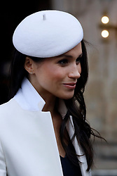 Meghan Markle as she leaves after attending the Commonwealth Service at Westminster Abbey, London.
