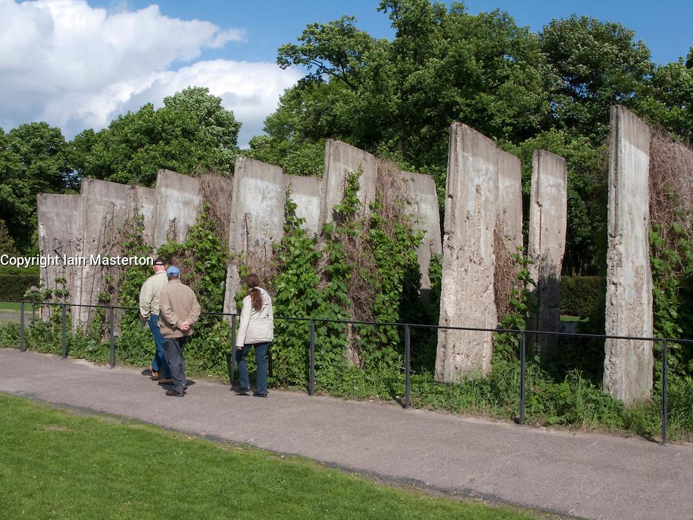 Rows of original segments of Berlin Wall at new Berlin Wall Memorial site on Bernauer Strasse in Berlin Germany
