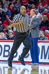 NORMAL, IL - February 16:  Antinio Petty hustles past Dan Muller during a college basketball game between the ISU Redbirds and the Bradley Braves on February 16 2019 at Redbird Arena in Normal, IL. (Photo by Alan Look)