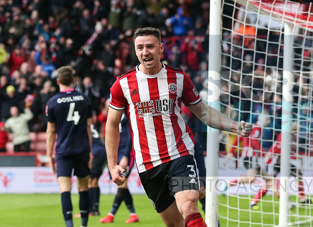 Enda Stevens of Sheffield Utd celebrates during the Premier League match at Bramall Lane, Sheffield. Picture date: 9th February 2020. Picture credit should read: Chloe Hudson/Sportimage