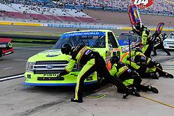September 14, 2018 - Las Vegas, NV, U.S. - LAS VEGAS, NV - SEPTEMBER 14: Matt Crafton (88) Ideal Door, Menards ThorSport Racing Ford F-150 in for a pit stop during the World of Westgate 200 NASCAR Camping World Truck Series Playoff Race on September 14, 2018, at Las Vegas Motor Speedway in Las Vegas, NV. (Photo by David Allio/Icon Sportswire) (Credit Image: © David Allio/Icon SMI via ZUMA Press)
