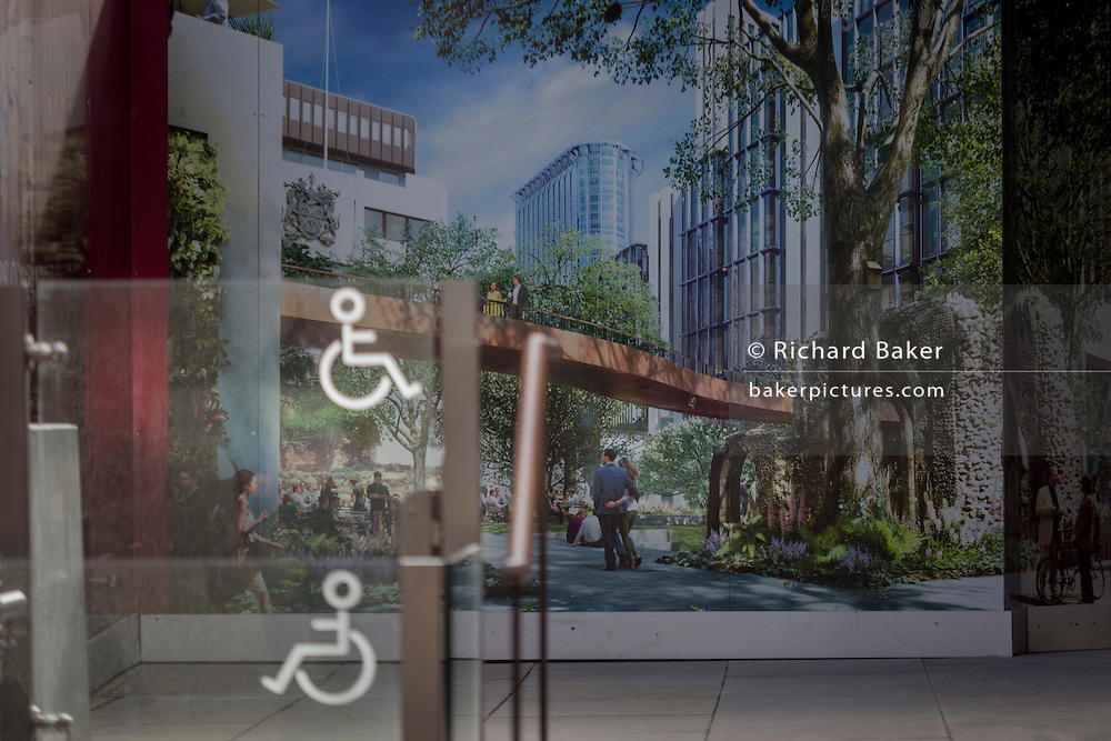 The symbol for disabled access and a future utopian landscape within a construction hoarding, on 16th February 2017, in the City of London, England.