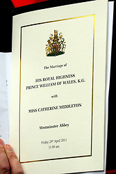 29 April 2011. London, England..Royal wedding day. The official order of service at Westminster Abbey..Photo; Charlie Varley.