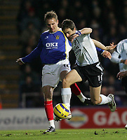 Photo: Lee Earle.<br /> Portsmouth v Chelsea. The Barclays Premiership.<br /> 26/11/2005. Chelsea's Jole Cole beats Matthew Taylor.