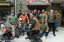 Group photo at the Freewheelers And Company shop before a ride with friends of the shop around Tokyo, Japan. December 8, 2015.  Photography ©2015 Michael Lichter.