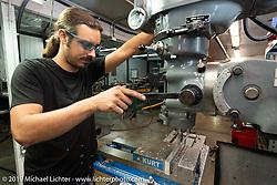Custom bike builder Lock Baker working in his shop. Los Angeles, CA, USA. Thursday, June 21, 2018. Photography ©2018 Michael Lichter.