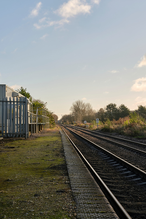 The line branches off the right to Felixstowe North Freightliner Terminal at Port of Felixstowe. The line directly ahead continues to Felixstowe station & the other rail freight depot at the port.<br /> Photo by Jonathan J Fussell, COPYRIGHT 2020