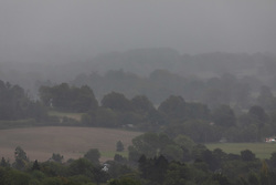 © Licensed to London News Pictures. 30/09/2020. Surrey, UK. A gloomy view of the Surrey Hills from Box Hill today as stormy weather is set to hit the UK this week as weather experts forecast heavy rain and high winds for the next few days. Photo credit: Alex Lentati/LNP