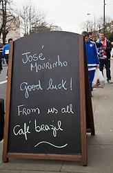 A Sign outside a Cafe near Stamford Bridge Stadium for Jose Mourinho - Mandatory byline: Paul Terry/JMP - 07966 386802 - 19/12/2015 - FOOTBALL - Stamford Bridge - London, England - Chelsea v Sunderland - Barclays Premier League