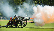 © Licensed to London News Pictures. 10/06/2014. London, UK A 41 Royal Gun Salute is fired by the King's Troop Royal Horse Artillery in honour of the 93rd birthday of the Duke of Edinburgh in Hyde Park London today 10th June 2014. Photo credit : Stephen Simpson/LNP