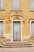 Chateau de Montpezat. Pezenas region. Languedoc. A door. France. Europe.