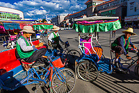 Bicycle rickshaw, Beijing MIddle Road, Lhasa, Tibet (Xizang), China.