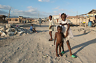 Haitian children in the Raboteau neighborhood, an area of the city of Gonaïves destroyed by Hurricane Jeanne in 2004. Gonaïves, Haiti, January 22, 2008.