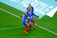 Antoine Griezmann (FRA) scored the first goal against Wayne Hennessey (WAL) and celebrated it with Layvin Kurzawa (FRA) and Christophe Jallet (FRA) during the 2017 Friendly Game football match between France and Wales on November 10, 2017 at Stade de France in Saint-Denis, France - Photo Stephane Allaman / ProSportsImages / DPPI