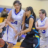 010814       Cable Hoover<br /> <br /> Navajo Pine Warrior Krystal Nelson (24) loses the ball as she collides with Navajo Prep Eagle Hanna Antone (22) Wednesday at Navajo Pine High School.