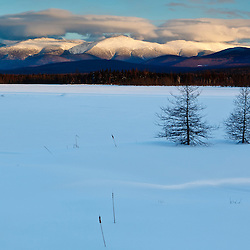 Winter view of the Presidential Range in the White Mountains. Pondicherry National WIldlife Refuge. Cherry Pond. Jefferson, New Hampshire.
