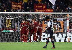 May 12, 2019 - Rome, Italy - Edin Dzeko of Roma celebrates with the teammates after the goal of 2-0 scored during the Italian Serie A football match AS Roma v Fc Juventus at the Olimpico Stadium in Rome, Italy on May 12, 2019. (Credit Image: © Matteo Ciambelli/NurPhoto via ZUMA Press)