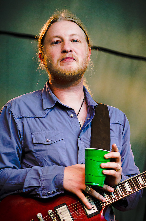 Derek Trucks as he took a quiet refreshment break while Susan Tedeschi took the guitar and vocal leads at the Appel Farm's 2012 Arts & Music Festival.