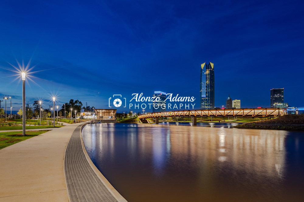 Scissortail Park Lake with the Oklahoma City skyline in the background on Tuesday, Oct. 1, 2019. Photo copyright © 2019 Alonzo Adams.