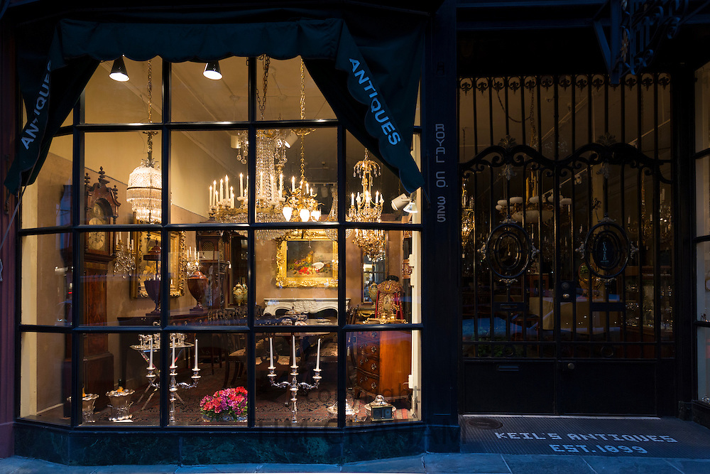 Fine Art and Antique shop, Keil's Antiques, 19th Century in Royal Street in French Quarter, New Orleans, USA