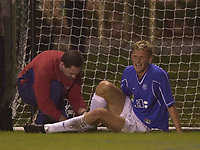 Rangers v Uruguay in Fort lauderdale, Florida during Scottish Premier League  winter shut down. Uruguay are  an American Amateur team<br /><br />Pic Ian Stewart, 18/01/2001.<br /><br />Troe Andre Flo treated after being injured. (Photo: Digitalsport)