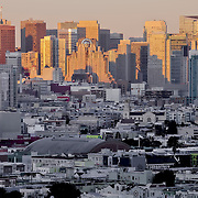 View of SoMa area south of Market Street from near Delores Park, San Francisco, California.
