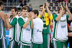 Domen Lorbek (13) of Slovenia, Jaka Klobucar (9) of Slovenia, Jurica Golemac (14) of Slovenia and Matjaz Smodis (8) of Slovenia celebrate after the EuroBasket 2009 Group F match between Slovenia and Turkey, on September 16, 2009 in Arena Lodz, Hala Sportowa, Lodz, Poland.  (Photo by Vid Ponikvar / Sportida)